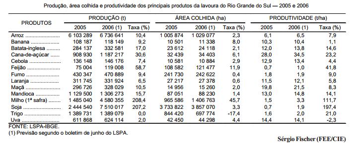 O desempenho da agropecuária gaúcha em 2006