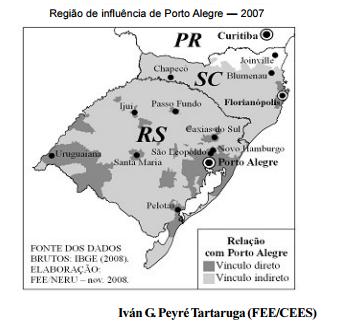 A região de influência de Porto Alegre