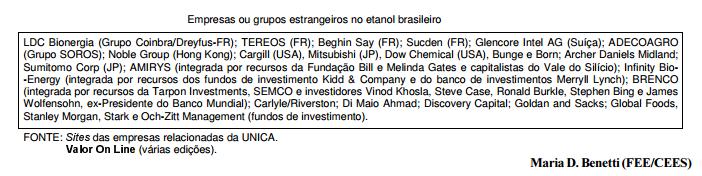Estado e capital estrangeiro no etanol brasileiro