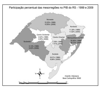 Evolução do PIB nas mesorregiões gaúchas 1999-2009